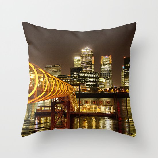 London, Piers of Docklands Hilton Throw Pillow