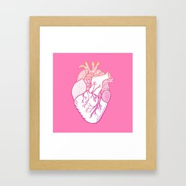 Designer Heart Pink Background Framed Art Print