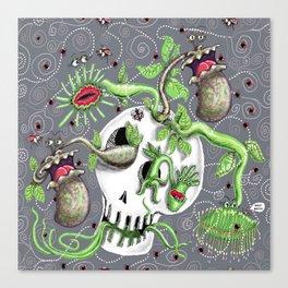 skull pot with carnivorous plants Canvas Print