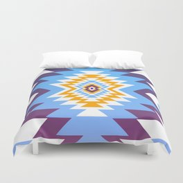Bright blue native pattern Duvet Cover