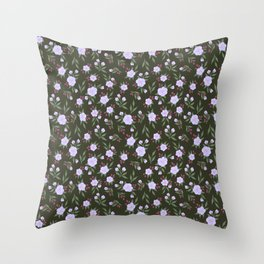 Lilac Flowers on Green - Floral Pattern Throw Pillow