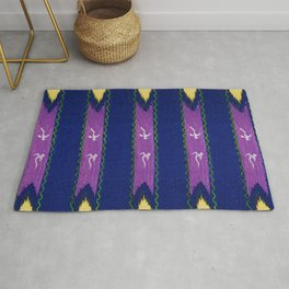 Yellow And Purple Decor Japanese Shima-Shima Pattern Rug