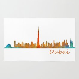 Dubai, emirates, City Cityscape Skyline watercolor art v1 Rug