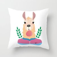 sport Throw Pillows featuring Sport Lama by Holanes