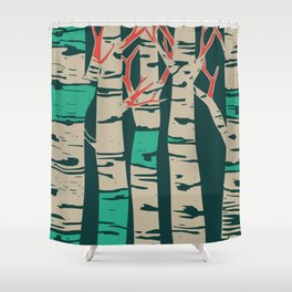 Whimsical birch forest landscape wall art Shower Curtain