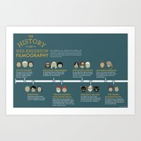 wes anderson Art Prints featuring Wes Anderson Filmography by Hope Gamin Designs