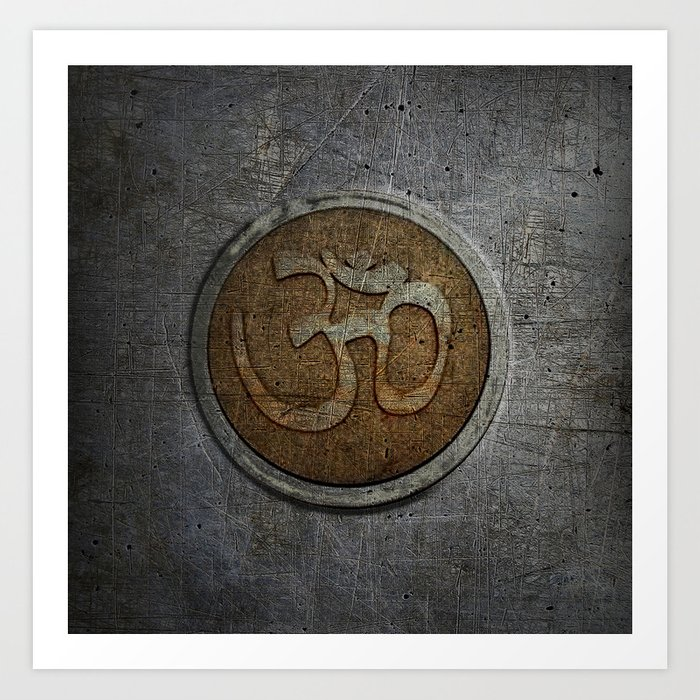 The sound of the Universe. Gold Ohm Sign On Stone Art Print
