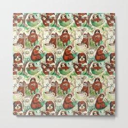 sloth in coffee pattern Metal Print