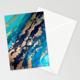 Monterey Emerald Bay Golden Abstract Stationery Cards
