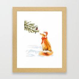 Christmas card with cute fox and bullfinch Framed Art Print