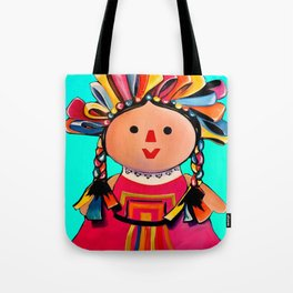 Mexican Maria Doll (turquoise) Tote Bag