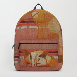Calico Cat & Rusted Coral Stripes Backpack