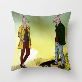 kangaroo couple Throw Pillow