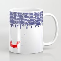 white Mugs featuring Alone in the forest by Robert Farkas