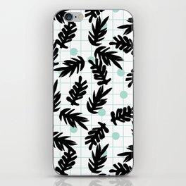 Dotty - black and mint modern pattern grid modern pattern print design urban brooklyn  iPhone Skin