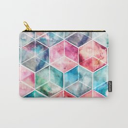 Translucent Watercolor Hexagon Cubes Carry-All Pouch