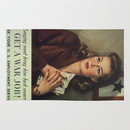 Vintage poster - Get a War Job! Rug