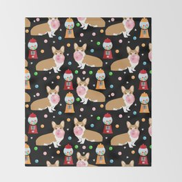 Corgi bubblegum cute pet portrait custom dog breed art pattern by pet friendly Throw Blanket