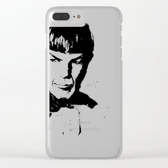 Spock Watercolor Portrait Clear iPhone Case