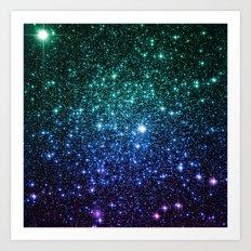 Galaxy Stars : Teal Periwinkle Violet Art Print