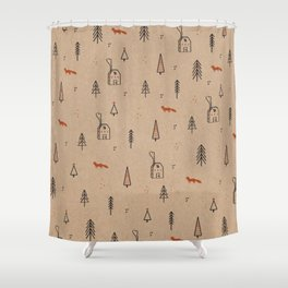 Christmas into the Woods Shower Curtain