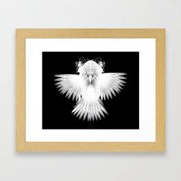 Strange Hummingbird 1.White on black background. Framed Art Print