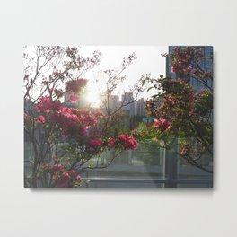 A City Through Petals Metal Print