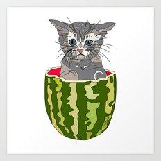 Kitty Cat Watermelon Art Print