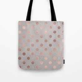 Rosegold pink metalfoil polkadots on grey background 1 Tote Bag