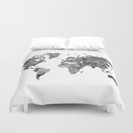 World map in watercolor gray Duvet Cover