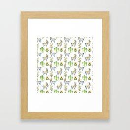 Hand painted blush blue green watercolor lamas floral cactus Framed Art Print