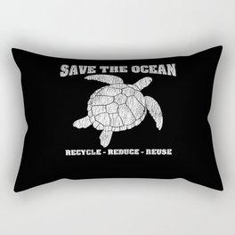Vintage Save The Sea Turtles Animal Right Turtle Rectangular Pillow