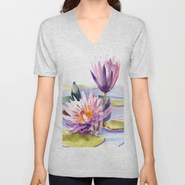 Water Lily,  Lotus, Asian Ink drawing Zen brush pink purple flower Unisex V-Neck