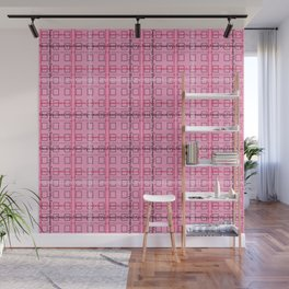 Pink and Grey 'Feminist Killjoy' Tartan Text Pattern Wall Mural