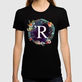 Personalized Monogram Initial Letter R Floral Wreath Artwork T-shirt