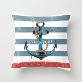 Maritime Design - Nautic Anchor on stripes in blue and red Throw Pillow