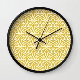 Floral Scallop Pattern Mustard Yellow Wall Clock