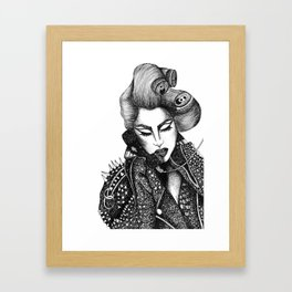 GIRL WITH A TELEPHONE Framed Art Print