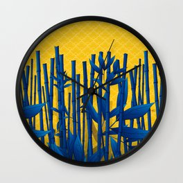 Blue Bamboo Wall Clock