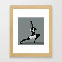 bondage black leather girl Framed Art Print