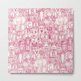 animal ABC pink ivory Metal Print