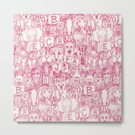 animal ABC pink ivory Metal Print