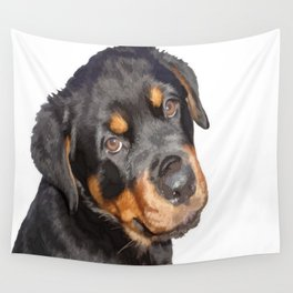 Female Rottweiler Puppy Making Eye Contact Vector Isolated Wall Tapestry