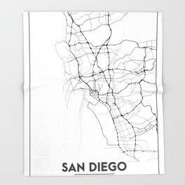 Minimal City Maps - Map Of San Diego, California, United States Throw Blanket