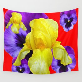 RED COLOR YELLOW-PURPLE PANSY ART Wall Tapestry