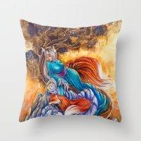 kitsune Throw Pillows featuring Kitsune by Nemeth Alina