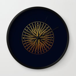 The golden compass- maritime print with gold ornament Wall Clock