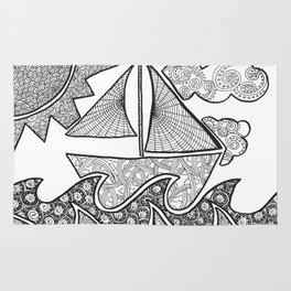 Doodle Boat Coloring Page and Color-in  Rug