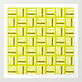 Stripes×Checkered Pattern__Lime Green&Purple Art Print