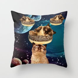 Galaxy Donuts Cats Throw Pillow